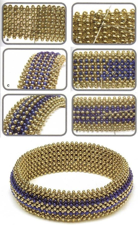 bracelets of gold and blue beads: