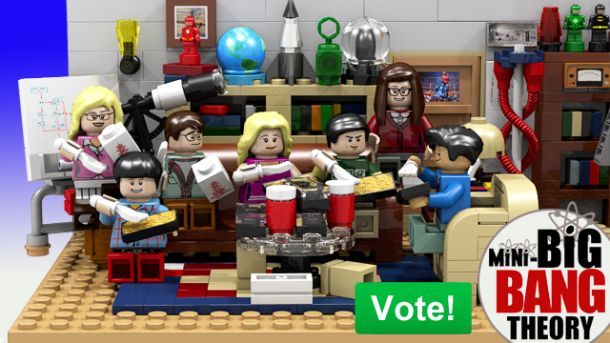 "Sheldon, Leonard and their pals enjoy some Chinese food in their geek bachelor pad in this ""Big Bang Theory"" Lego set submitted for ..."