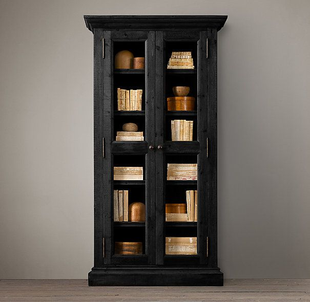Salvaged wood glass door cabinet wood shelving - Restoration hardware cabinets ...