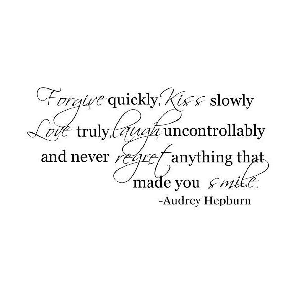 Forgive quickly Audrey Hepburn quote wall decal saying vinyl found on Polyvore