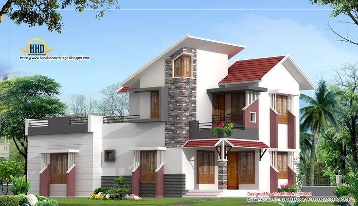 Lovely White Modern House Design Idea with White Wall with Red Accents, Red Roof Tile, Brown Window Frames, and Balcony with Black Balustrade
