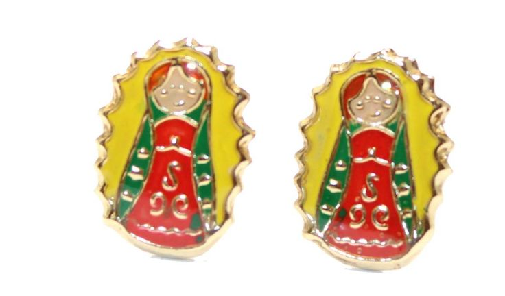 Virgen De Guadalupe Earring 18k Gold Plated Screw Back Earring - Virgencita Plis Screw Back Earring. New with Tags. Virgen de Guadalupe Screw Back Earrings. Weight: 1 Grms. Height:1 cm Width:.7 cm. Excllent Quality. Backing: Screw Back.