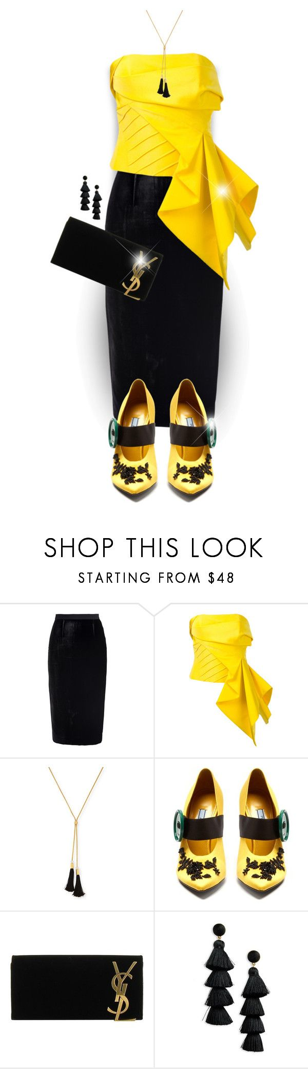 """Black and Yellow"" by elona-makavelli ❤ liked on Polyvore featuring Roland Mouret, Rubin Singer, Lele Sadoughi, Prada, Yves Saint Laurent and BaubleBar"