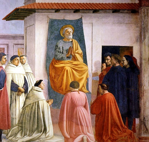 St. Peter Enthroned  1424-1428 | Fresco  Brancacci Chapel, Santa Maria del Carmine, Florence  Masaccio (Cassai, Tommaso) | 1401-1428