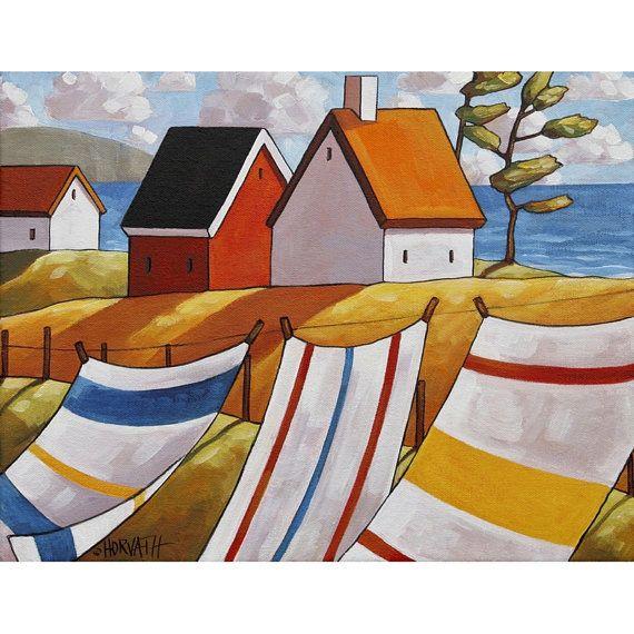 "Art Print by Cathy Horvath 8.5""x11"" Modern Folk Art Giclee, Summer Breeze Coastal Cottages Seascape, Laundry Wind Ocean Artwork Reproduction"