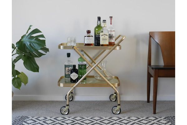 Gold Bar Cart, Folding Vintage Drinks Trolley With Marble Trays | Vinterior