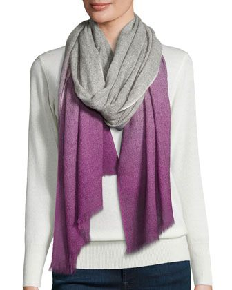 Cashmere+Woven+Dip-Dye+Scarf,+Camila+by+Neiman+Marcus+at+Neiman+Marcus+Last+Call.