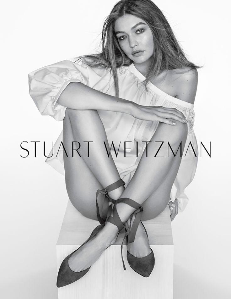 Gigi Hadid models Stuart Weitzman The Supersonic Flat