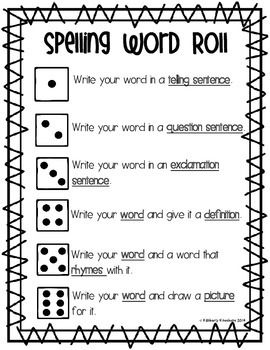 Spelling Word Roll - Word Work / Word Study Center - Fundations Activity - Word Practice - Reading Rotation Center - Independent Spelling Practice using Dice - Spelling Fun - 3 Types of sentences - Language Arts