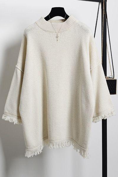 Round Neck 3/4 Sleeve Fringed Sweater