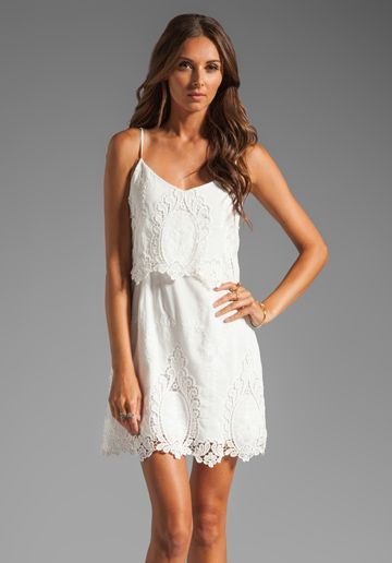 DOLCE VITA Jeralyn Dress in White & Mint at Revolve Clothing--the week I get married I'm wearing as much white as possible. This will look great on the honey moon.