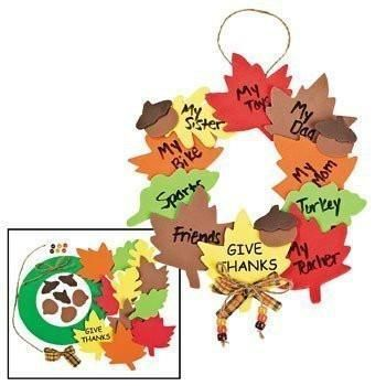 "Makes 12 wreaths. Celebrate fall and decorate your door with this wreath craft project. Kids can write what they are thankful for on the leaves. Foam. 8"" All cr"