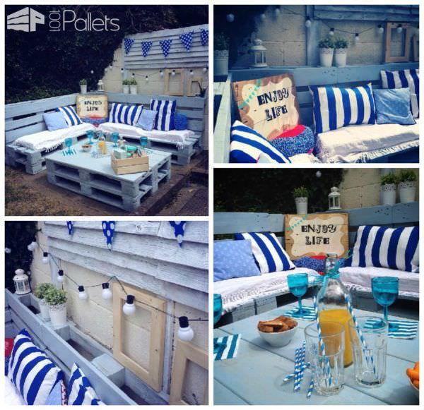 Pallet+Garden+Nautical+Furniture+Set+And+Sign
