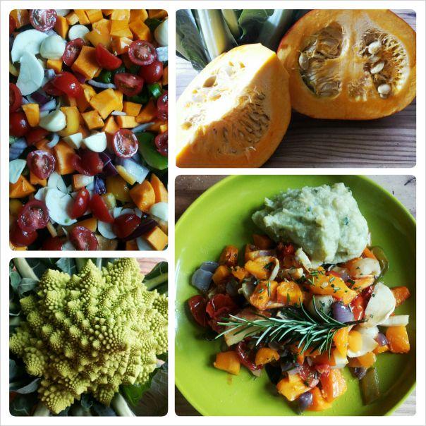 Geroosterde groenten met puree van zoete aardappel en Romaanse bloemkool