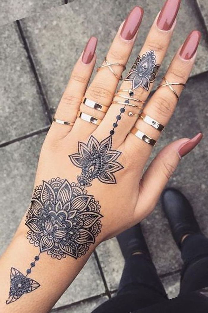 Pink Nail Polish Silver Rings Mandala Shoulder Tattoo Hand Tattoo Black Boots In 2020 Hand Tattoos For Women Hand Tattoos Mandala Hand Tattoos