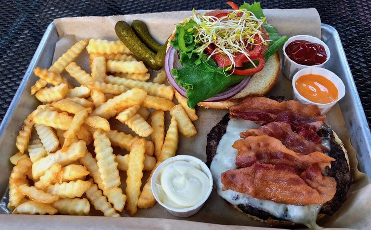 bacon cheeseburger and fries at Belly or is it Belly Burger?