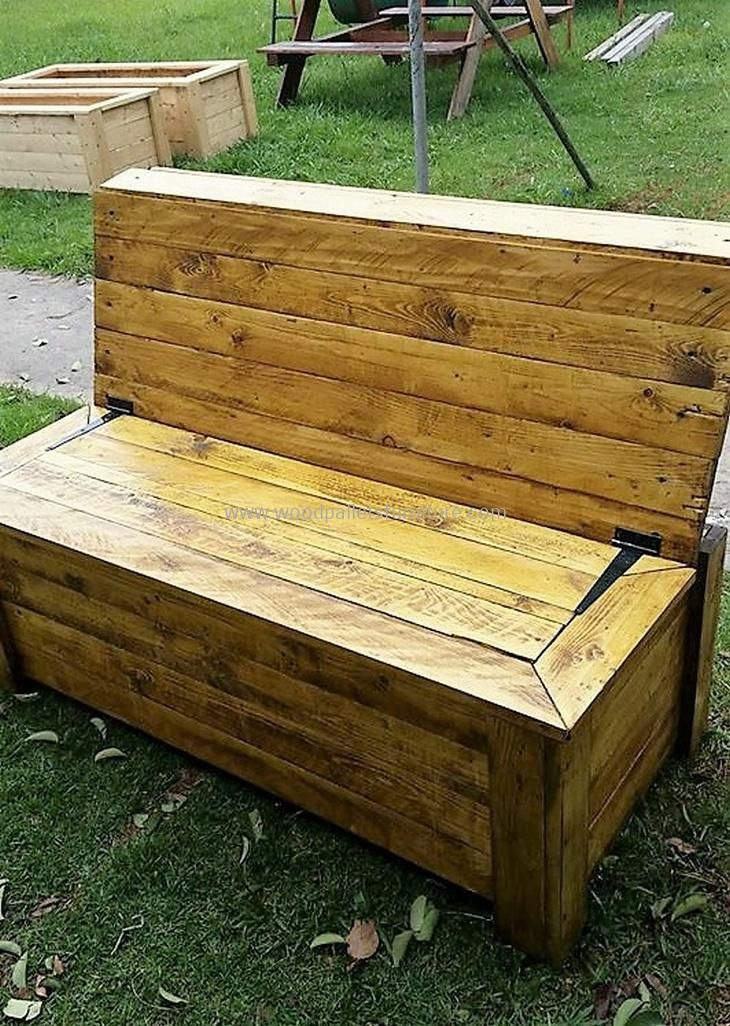 Pallet Bench With Storage Pallet Furniture Outdoor Wooden Pallet Projects Pallet Outdoor