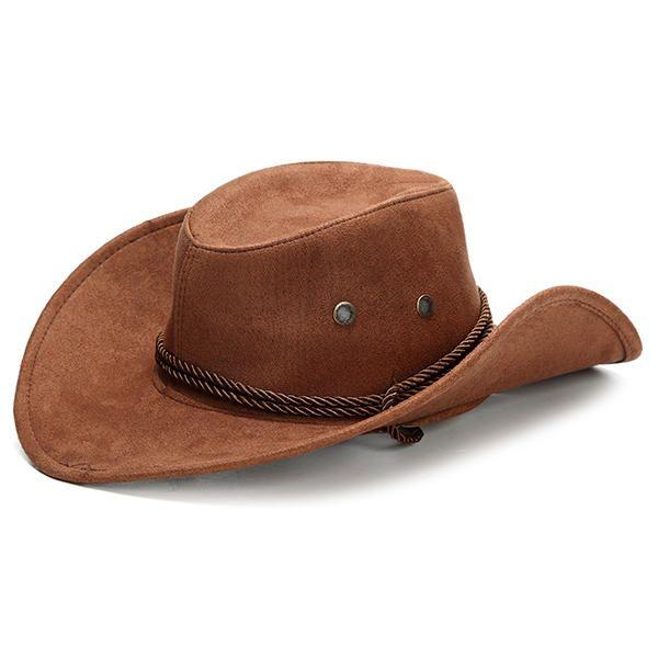 e27019243 Unisex Cowboy Hats Classic Faux Leather Western Beach Sun Wide Brim ...