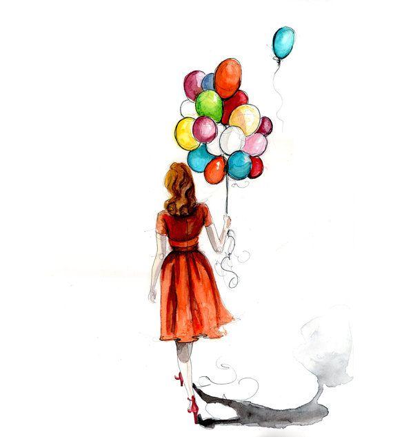 Balloon Girl by longbluestraw on Etsy, $17.50