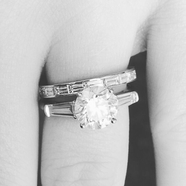 Liz Legg Jewelry: round brilliant diamond ring with tapered baguettes engagement ring and channel set baguette ring