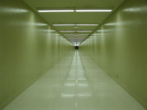 long sterile hallway - LAX creepy sterile white passageways