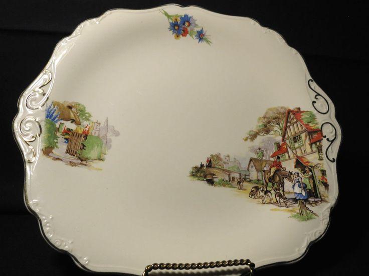 J & G Meakin Dinner Plate Old Days Vintage England Sol Ware Ironstone  10 3/4