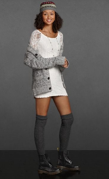 Start your look in a pretty white lace dress with sheer sleeves.