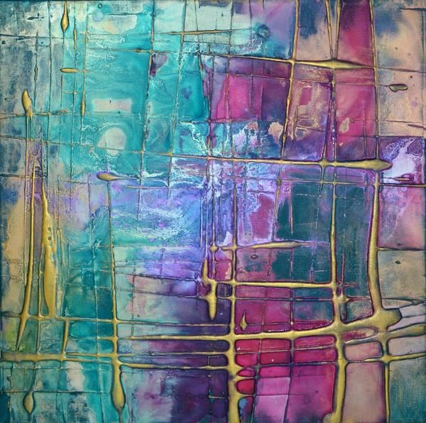 Incandescent 3 is an abstract style bright colour artwork featuring a heavy textured base and a bpink and blue, green and gold colour palette. Ready to hang art on canvas.