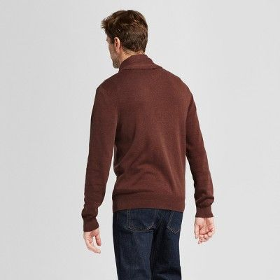 Men's Standard Fit Pullover Shawl Collar Sweater - Goodfellow & Co Rust (Red) M
