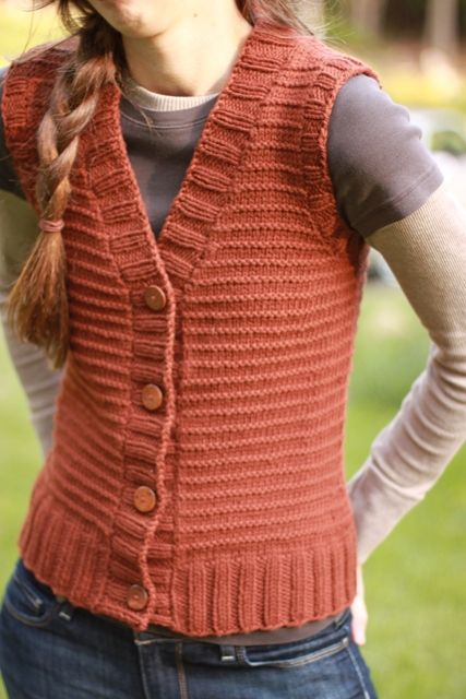 The Brown Stitch | Womens Vest Knitting Pattern | Woods Road Vest -Maybe Grey..