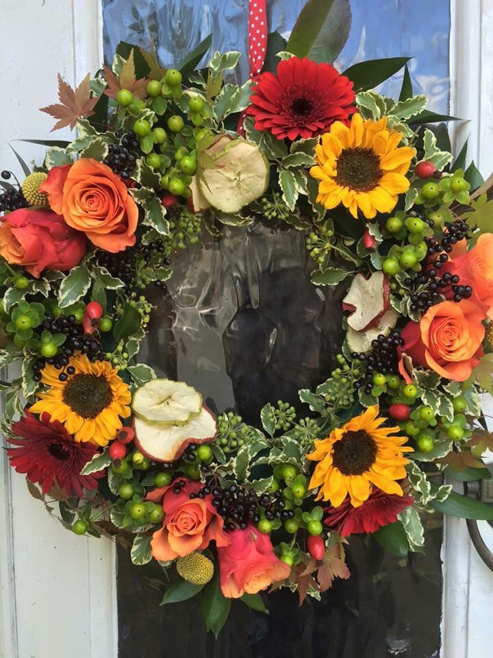 Late Summer Wreath Golden Flowers Late Summer Early