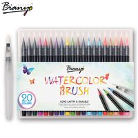 Bianyo 20 colores premium pintura brush pens set suave punta flexible crear marcadores copic para manga comic caligrafía acuarela