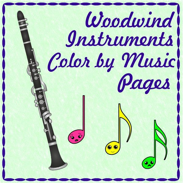 Woodwind Instruments Color By Music Pages Music Page Bass