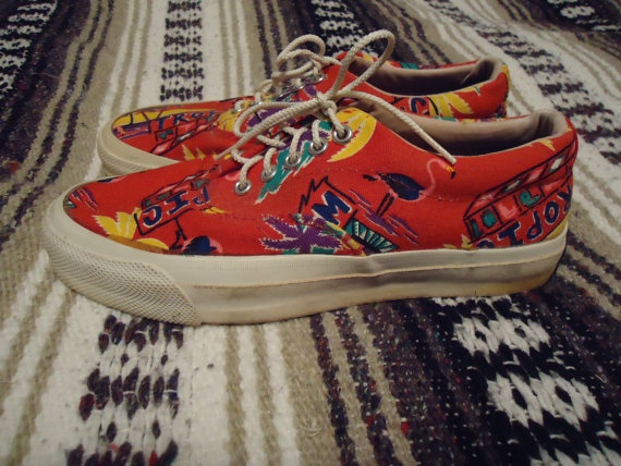 09fde87fa3b1 RESERVED dont buy Vintage 1980s CONVERSE made in usa Skidgrip Tropical Boat  Shoe Tie Sneaker Mens 6.5 Womens 8.5