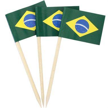 Mini Bandeirinha do Brasil com palito (32un) :: Festa Express R$ 10,40