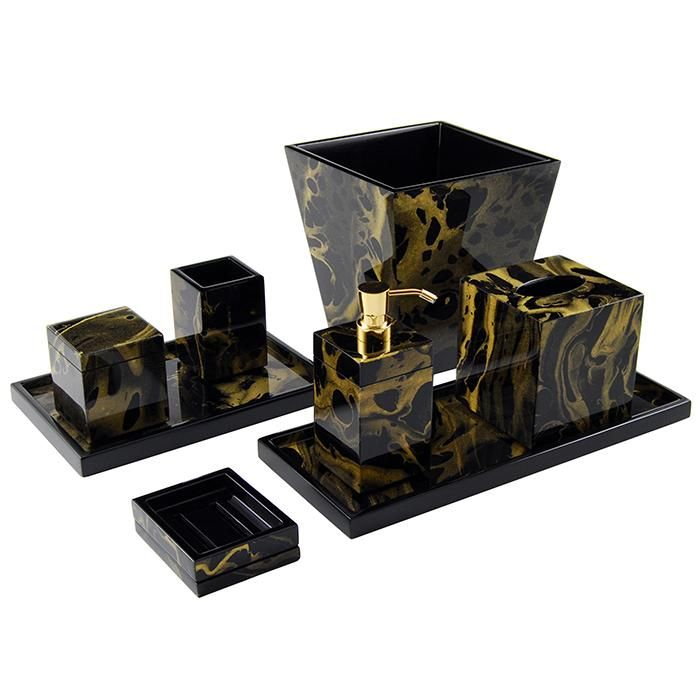 Black Gold Marble Lacquer Bathroom Accessories Black And Gold Marble Black And Gold Bathroom Gold Bathroom Set