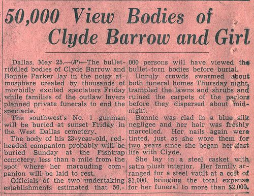 News Article About Burial of Bonnie & Clyde by Kevin D. Hendricks, via Flickr