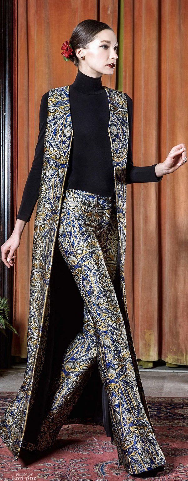 Alice + Olivia Fall 2015 RTW Loveeee the brocade pants