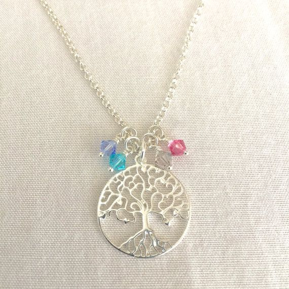 Family Tree Birthstone Necklace Mother's by StampedSchmuck on Etsy