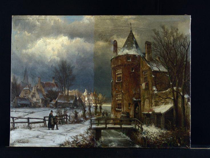 Koekkoek - Winterlandschap - halverwege vernisafname - Restauratieatelier Haarlem