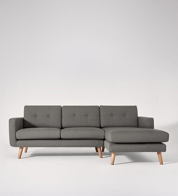 Swoon Editions Left hand corner sofa, Mid Century style in Mink Grey - £899