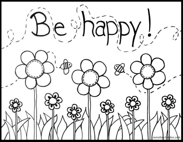 Be happy a free printable coloring page from morethan3wishes com