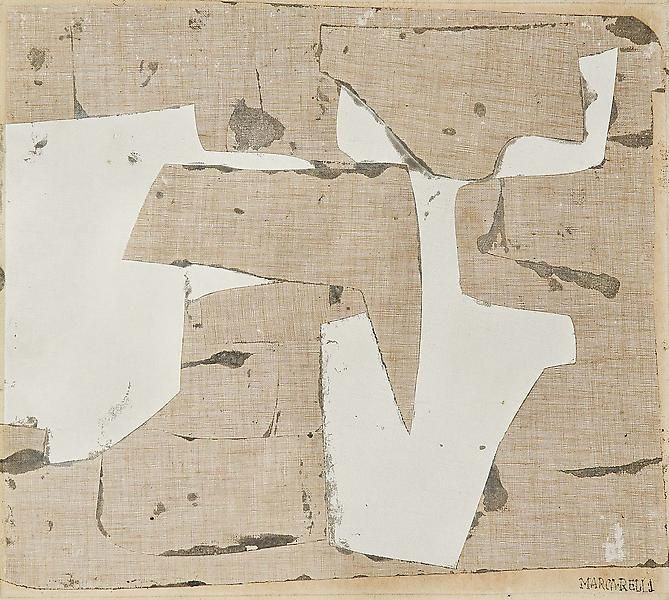 Conrad Marca-Relli ~ Untitled, c.1958-59 oil and canvas collage on panel 13 1/2 x 15 inches via Michael Rosenfeld Gallery | Collage Exhibition 2011