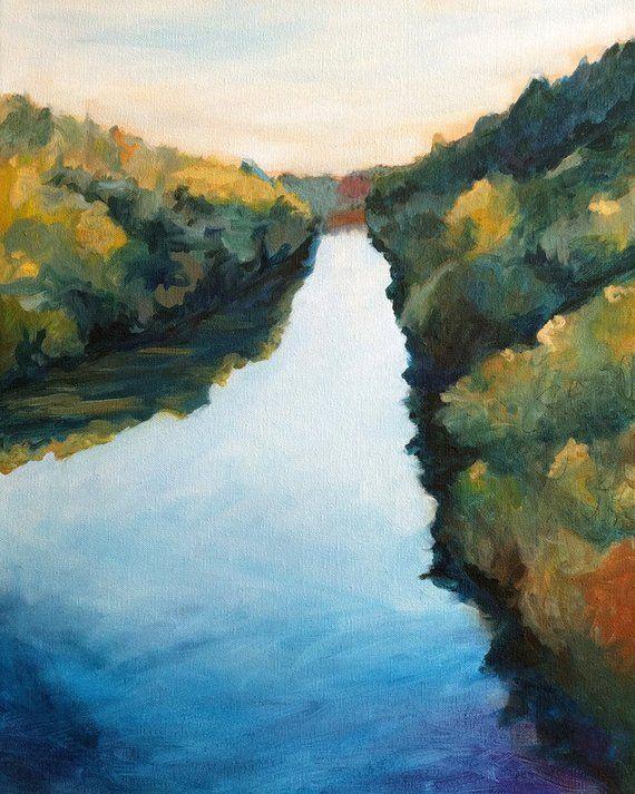 Calm River Landscape Painting Print Of Original Painting Water River Art Waterscape Art Landscape Paintings Landscape River Art