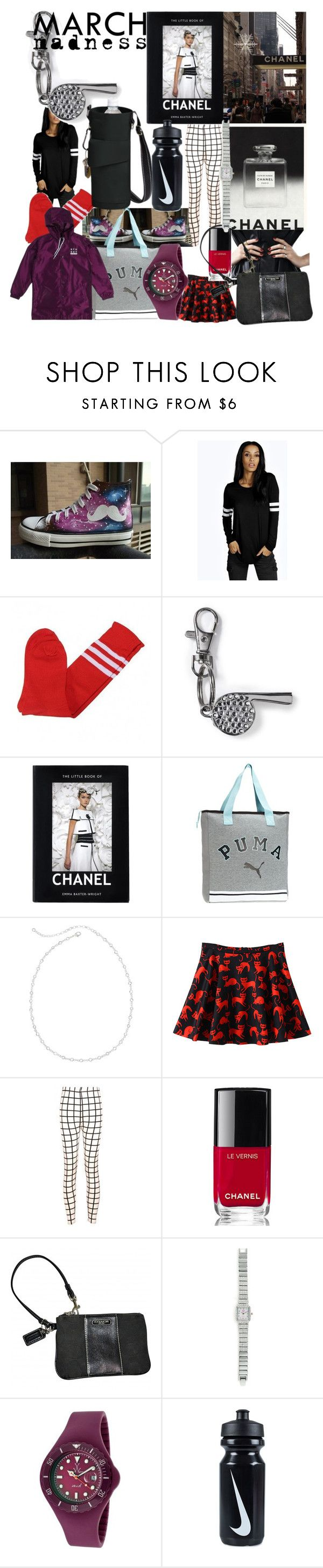 """""""Coach, Chanel, Court!!"""" by lerp ❤ liked on Polyvore featuring HVBAO, Boohoo, Chanel, Puma, Vieste Rosa, Coach, JustFab, Toy Watch and NIKE"""