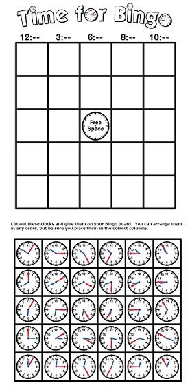 Does anyone know what time it is? Time for clock bingo!