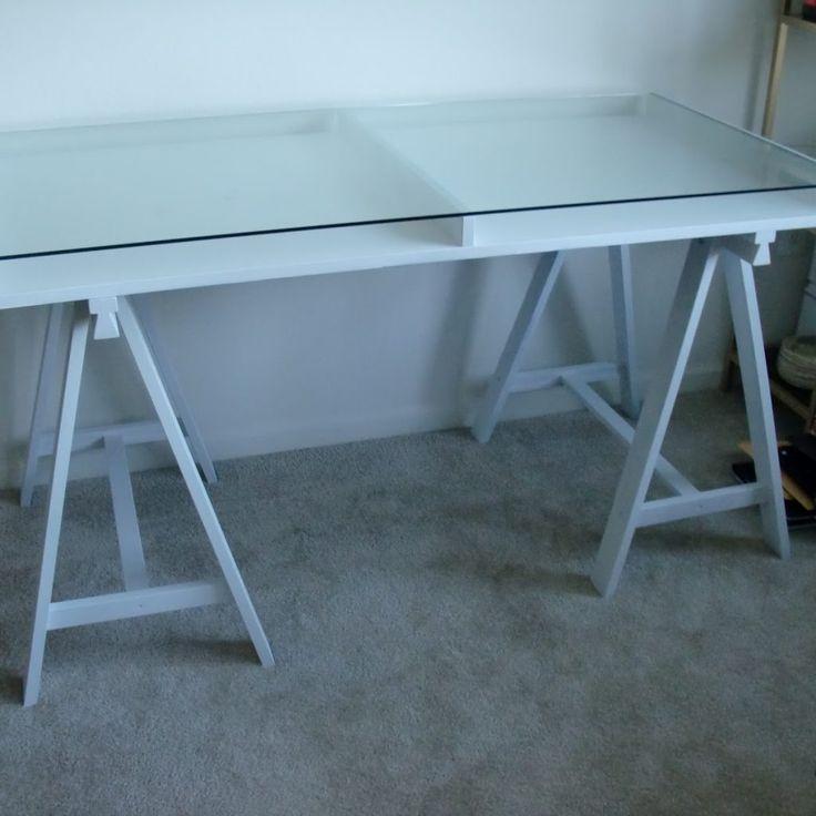 Glass Top Desk With Storage