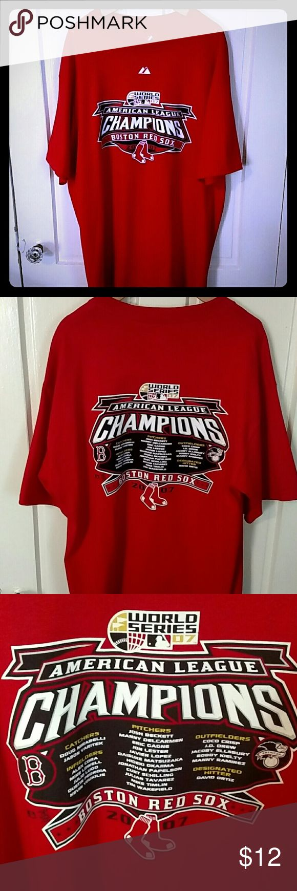 Boston Red Sox Tee Men's Large Boston Red Sox 2007 American League Championship short sleeved tee shirt. Excellent used condition maybe worn a couple times. Majestic Shirts Tees - Short Sleeve