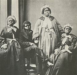 "A picture of the last four ""full blooded"" Tasmanian Aborigines c. 1860s. Truganini, the last to survive, is seated at far right."