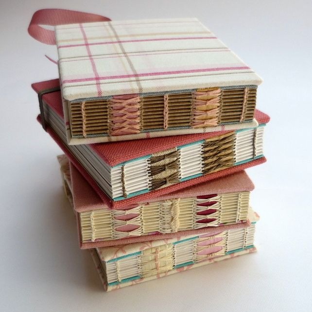 Dusty Pink Notebook with envelopes and lovely stitching - handmade books by Kate Bowles £15.00